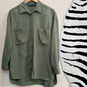 ZARA High Low Button up blouse with slit open back
